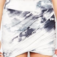 Ichi Abstract Cloud Print Skirt