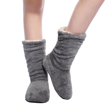 Fralosha  Plush Home Shoes Slippers Coral Fleece Indoor Floor Sock Indoor Slipper Winter Foot Warmer Best Soft bottom slippers