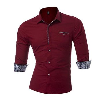 Plus Size Casual Fashion Solid Color Chest Pocket Slim Long Sleeve Designer Shirts for Men