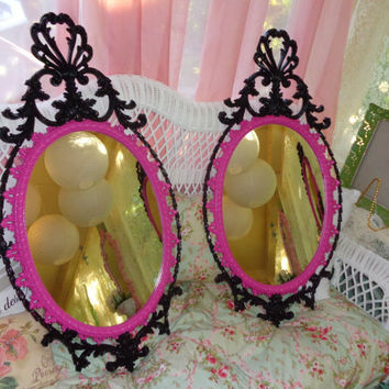 Vintage pair Hollywood Regency, boudoir baby girl, Paris chic, Hollywood glamour,  black and hot pink ornate decorative wall mirror