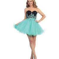 Mint Floral Strapless Sequin Bodice Corset Back Dress 2015 Prom Dresses