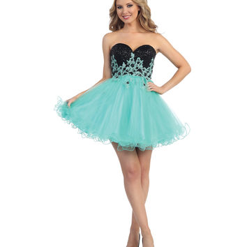 Mint Floral Strapless Sequin Bodice Corset Back Dress 2015 Homecoming Dresses