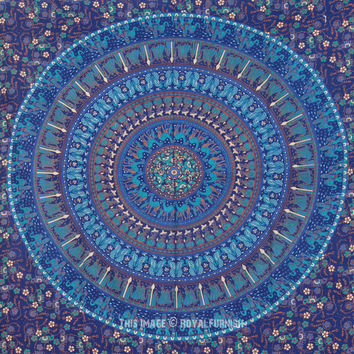 Twin Blue Boho Chic Style Outdoor/Indoor Mandala Bohemian Tapestry Wall Hanging on RoyalFurnish.com
