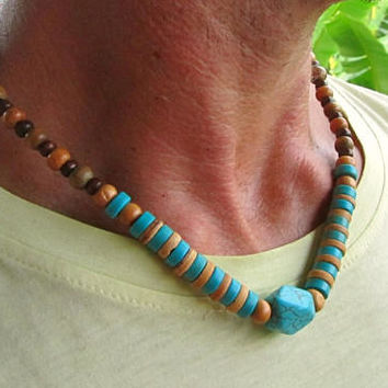 Beaded Necklace with Turquoise Howlite, Coconut & Wooden beads / Choker Style Psytrance Surfer Boho Hipster Ethnic Necklace / Men's Jewelry