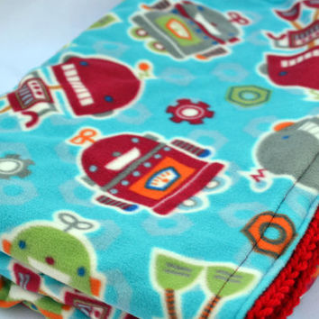 Robot party crochet baby blanket, granny square reversible crochet baby blanket
