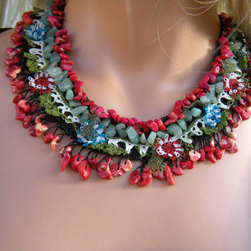 Eastern Sunset- Textile Art- Hand crocheted Necklace.Lots of Coral and Jade nuggets with hand made laces-One of a kind
