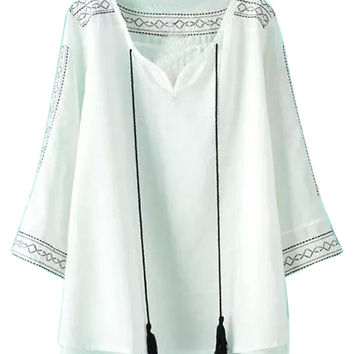 White Striped Print Fringed Drawstring Half Sleeve Cut Out Blouse