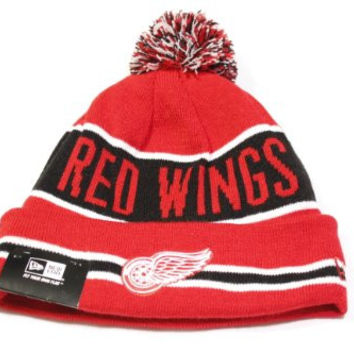 New Era The Coach Style Detroit Red Wings Cuffed w/ Pom Knit/Beanie Hat!!