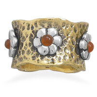 Brass and Silver Ring with Carnelian