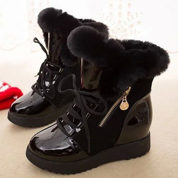 Fashion Women Winter Warm Lace Up Ankle Snow Boot Flat Heel Fleece Lined Size 36-40