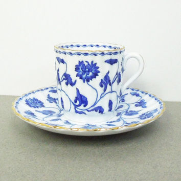 Spode Copelands demitasse cup saucer set blue vine and gold trim - Colonel 395839 - Made in England