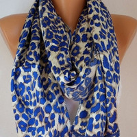Leopard  Women  Shawl Scarf -  Cowl with Lace - Blue
