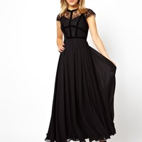 ASOS PETITE Exclusive Maxi Dress With Lace Top And Velvet Contrast