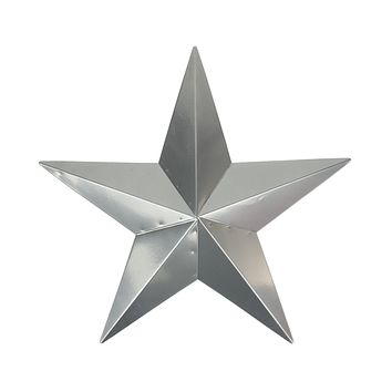 "24"" Silver Steel Country Rustic Star Indoor/Outdoor Wall Decoration"