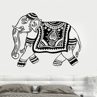 Vinyl Wall Decal Elephant India Hindu Animal Hinduism Art Stickers Mural (020ig)