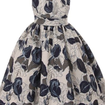 Dark Midnight Blue Roses & Grey Floral Jacquard Print Girls Occasion Dress (Sizes 2T - 12)