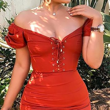 Wild In The Streets Short Puff Sleeve Off The Shoulder Lace Up V Neck Casual Bodycon Mini Dress - 2 Colors Available