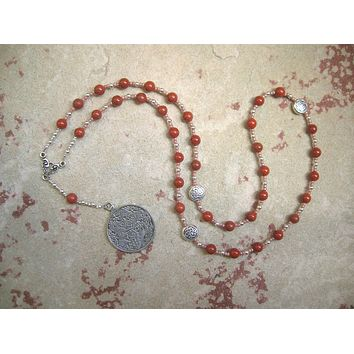 Epona Prayer Bead Necklace in Red Jasper: Gaulish Celtic Goddess of the Horse, Goddess of Soldiers