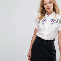 Pull&Bear Embroidered Short Sleeve Shirt at asos.com