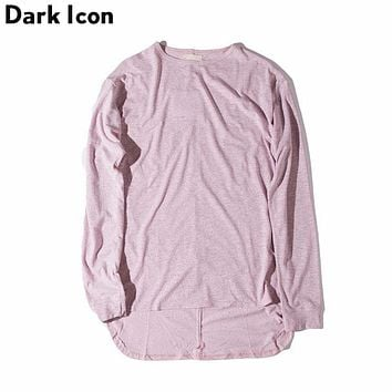 Solid Color Extended Men T-shirt Long Sleeve Autumn Curved Hem Hip Hop Basic shirts Men Man Tee Male Top 6 Colors