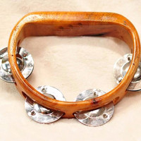 Coconut Carved Tambourine