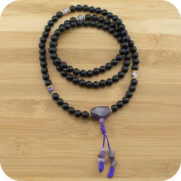 Matte Black Onyx Buddhist Prayer Beads with Amethyst