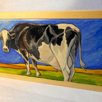 Framed Holstein Cow Oil Painting on Maple, Oil Farm Scene, Cow Oil Painting