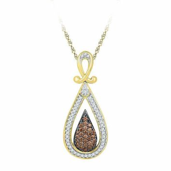10kt Yellow Gold Women's Round Cognac-brown Color Enhanced Diamond Teardrop Cluster Pendant 1-4 Cttw - FREE Shipping (US/CAN)