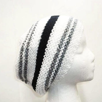 Black, gray and white ribbed slouchy beanie 5312