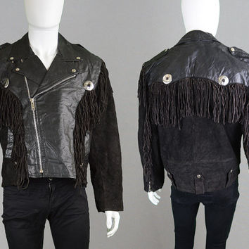 Vintage 80s Mens Black Leather & Suede Fringed Jacket Western Jacket Biker Jacket Rocker Jacket Punk Jacket Concho Jacket Real Leather Coat