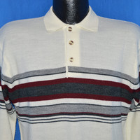70s Off White Striped Polo Sweater Medium