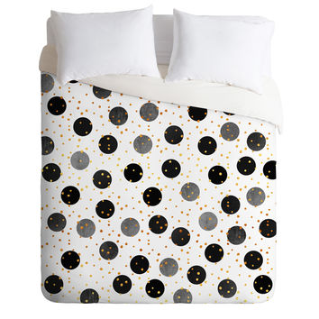Elisabeth Fredriksson Black Dots and Confetti Duvet Cover