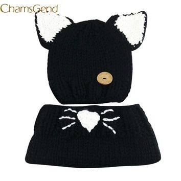 Chamsgend Newly Design Kids Winter Wool Knitted Cat Hats Baby Girls Black Shawls Hooded Cowl Beanie Caps Oct30