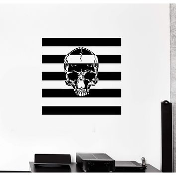 Wall Decal Skull Flag Skeleton Bones Horror Vinyl Sticker (ed1314)