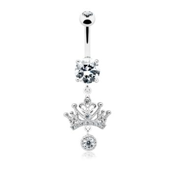 Dainty Crown Dangle Belly Button Ring 14ga Navel Ring Body Jewelry Dangling