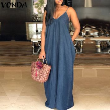 Sexy Strapless Beach Maxi Long Dress 2018 Women V Neck Backless Casual Loose Solid Denim Dresses Plus Size Floor-length Vestidos