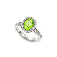 Oval cut peridot halo engagement ring with diamonds, green engagement ring, peridot halo, oval halo, peridot solitaire, custom, vintage