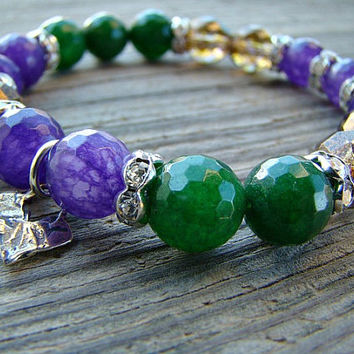 Beaded Stretch Bracelet, Gemstone Bracelet, Bead Stacking Bracelet, Charm Bracelet, Stackable Bracelet, Purple, Stone Jewelry, Green, Beaded
