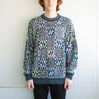 Vintage Italian Abstract Checkerboard Sweater