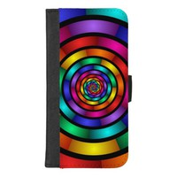 Round and Psychedelic Colorful Modern Fractal Art iPhone 8/7 Plus Wallet Case