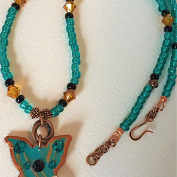 Small Butterfly Choker in Turquise and Copper