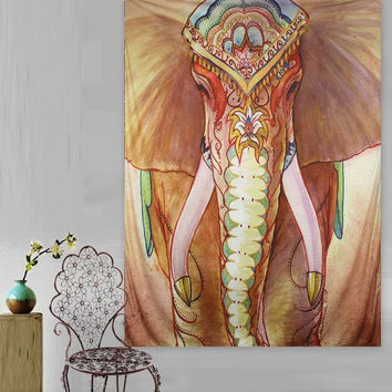 Wall Hanging Colorful Elephant Tapestry 150X130cm Indian Mandala Throw Blanket Bedsheet Bedspread Dorm Cover Home Textiles Favor
