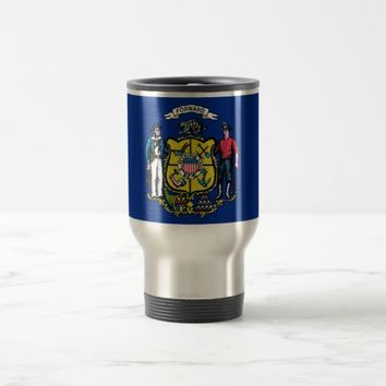 Travel Mug with Flag of Wisconsin State - USA