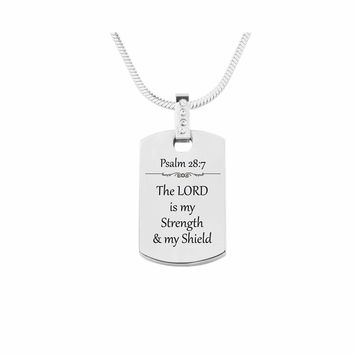 Scripture Tag Necklace with Cubic Zirconia - Psalm 28:7