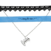 Disney Alice In Wonderland Time For Tea Choker & Necklace Set