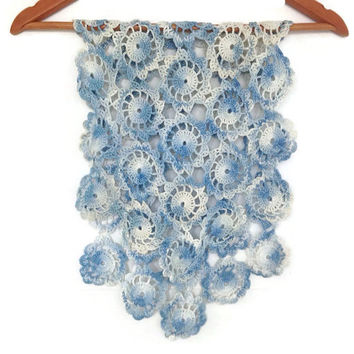 Vintage Doily, Crochet Cotton Table Runner, Variegated Blues, Medallions, Bureau Scarf, Handmade