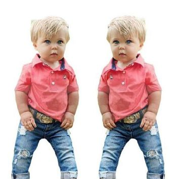 Boy clothes clothing set new cotton T-shirt + jeans denim shorts clothes for boys kids clothes