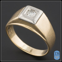 Mid-Century 14k Gold Men's Ring or Wedding Band with 0.20ct Diamond - Size 9