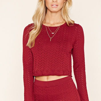 Perforated Zigzag Sweater