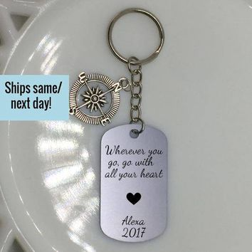 Graduation Gift, Graduation Keychain, Custom Keychain, Engraved Keychain, Customized Gift, Quote Keychain, Engraved Dog Tag, Custom Dog Tag